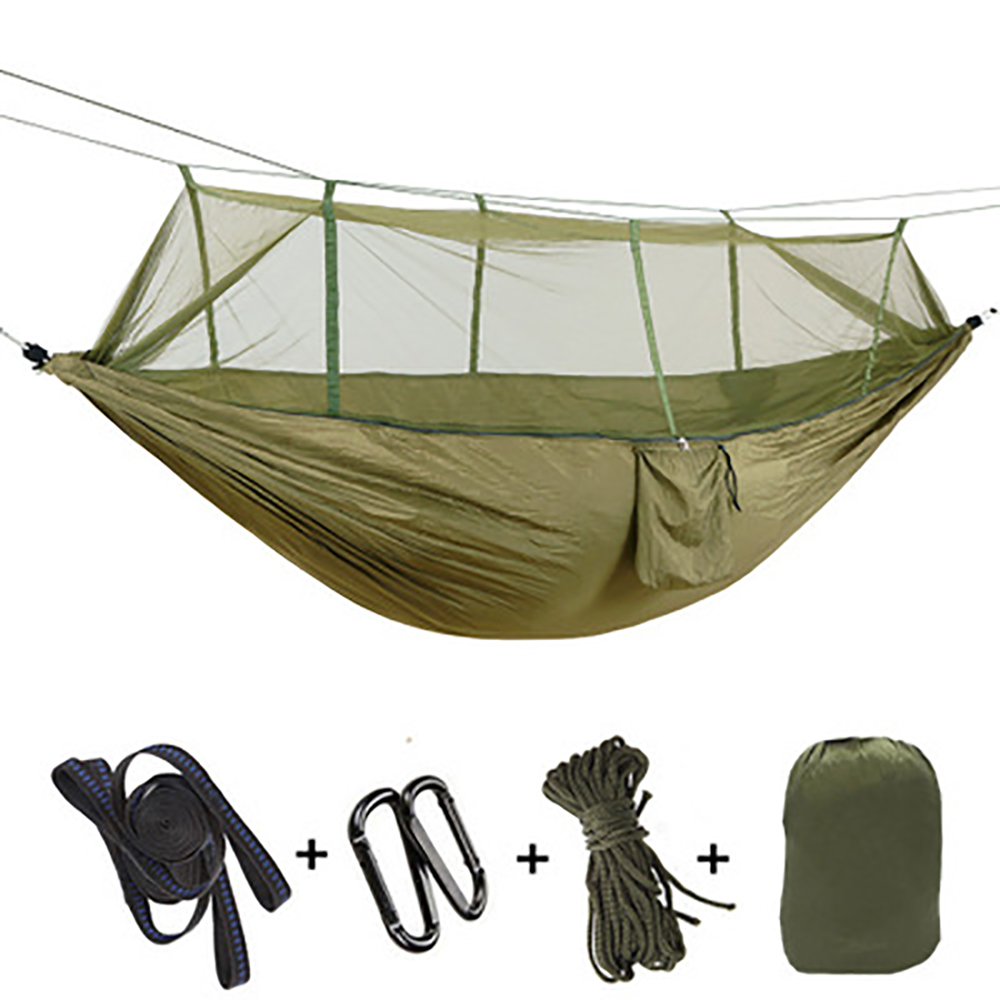 New anti-mosquito hammock outdoor mosquito net anti-rollover adult mesh parachute cloth camping swing with tree belt
