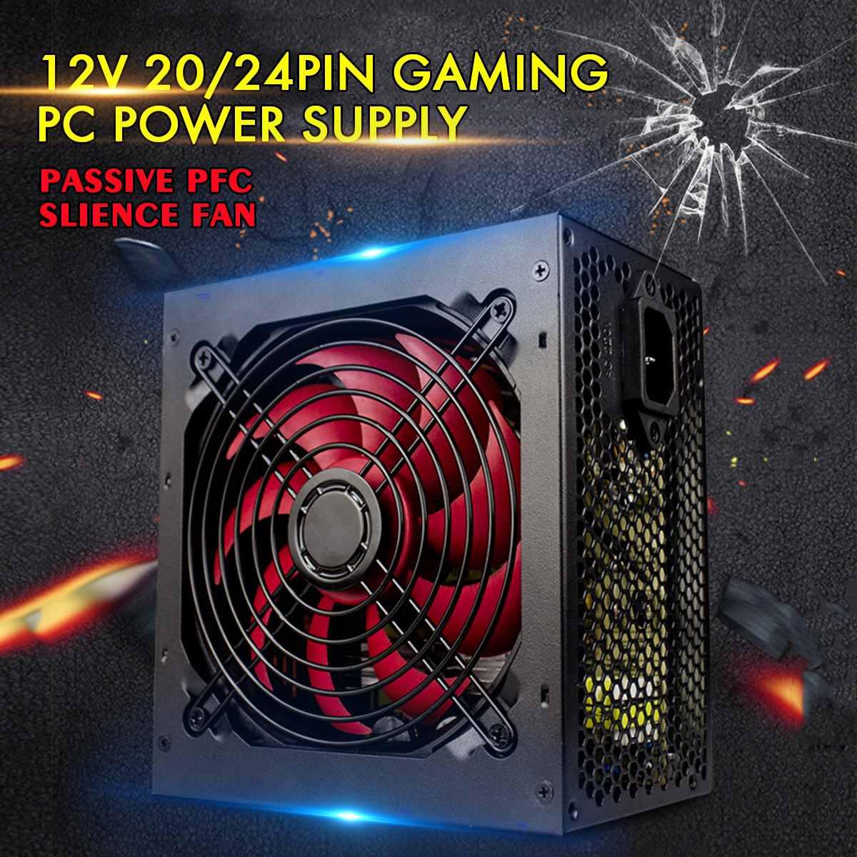 Max 650 w fonte de alimentação passiva pfc silencioso ventilador atx 20/24pin 12 v pc computador sata gaming pc fonte de alimentação