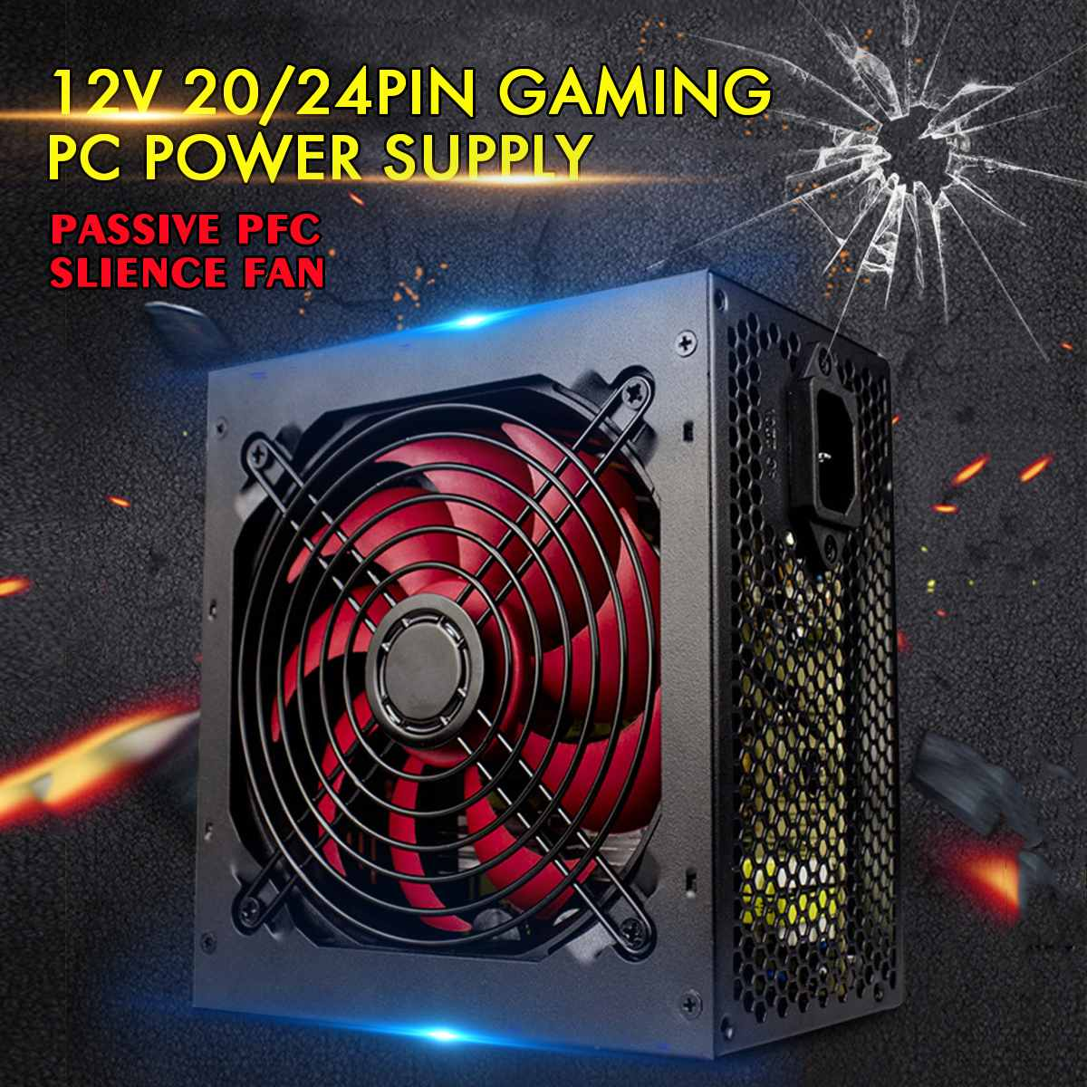 Max 650W Power Supply Passive PFC Silent Fan ATX 20/24pin 12V PC Computer SATA Gaming PC Power Supply