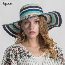 Hepburn brand 2019 Hot Chromatic stripe sun hat women men hats hand made straw cap beach Flat brim casual summer