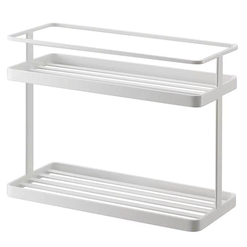 2-Layers Stainless Steel Storage Rack Spice Condiment Basket Desk Organizer Kitchen Bathroom Storage Holder Rack Shelf