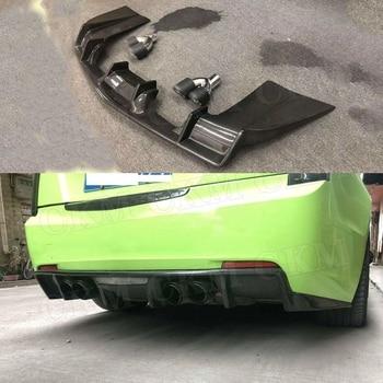 Divisor de labios de difusor de parachoques trasero de fibra de carbono con puntas de escape para Cadillac ATS 2015 2016 2017 placa de deslizamiento trasero