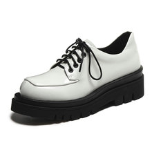 British Chunky Platform Creepers Women 2021 Spring New Genuine Leather Lace Up Derby Shoes Black White Daily Office Oxford Shoes