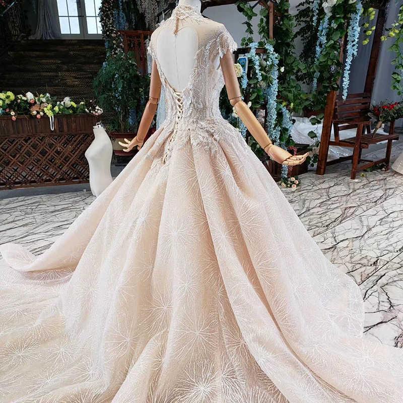 HTL726 כדור שמלת חתונה שמלת עבור נשים גבוהה צוואר קצר שרוול מקיר לקיר אורך חתונת שמלה עם שרוולי vestido דה noiva אזרחי