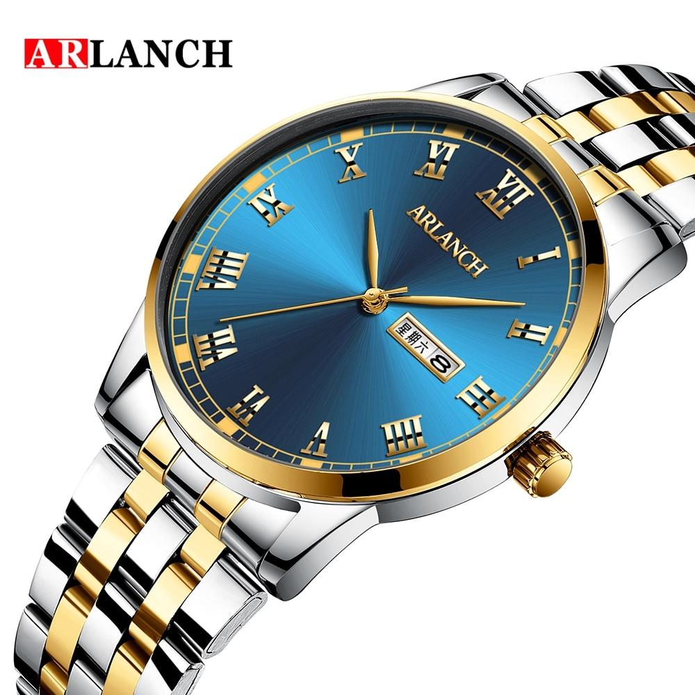 ARLANCH Fashion Top Brand Luxury Business Men Watch Stainless Steel Waterproof Quartz Wristwatch Calendar Week Relogio Masculino