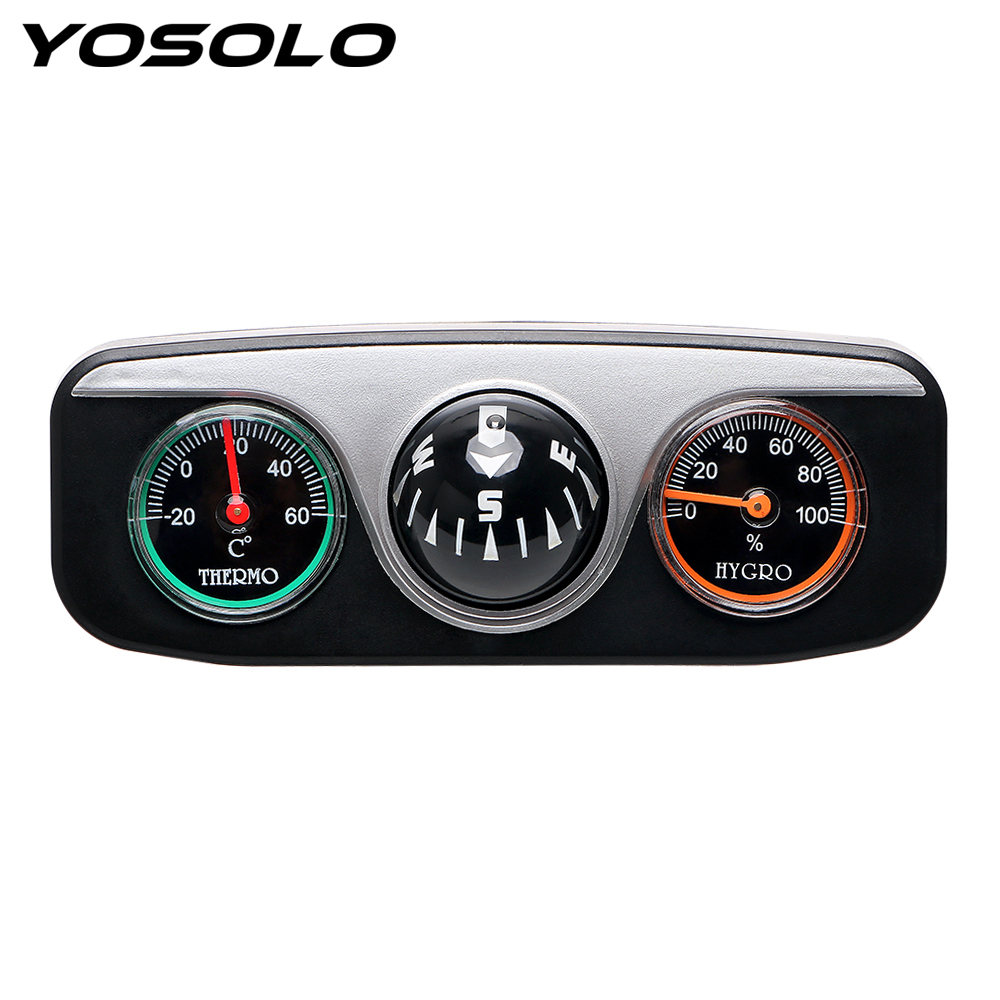 YOSOLO 3 in 1 Guide Ball For Auto Boat Vehicles Car Ornaments Interior Accessories Car Styling Compass Thermometer Hygrometer