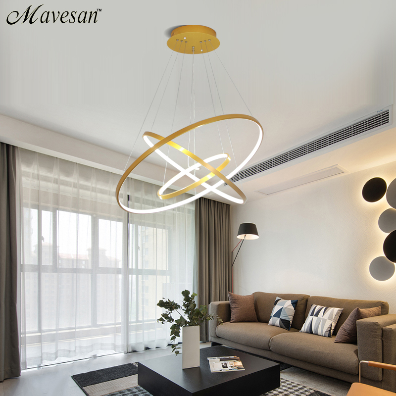 Mavesan Pendant Lights For Living Room Foyer Room 1/2/3 Circle Rings Acrylic Aluminum Body LED Pendant Lamp Fixtures Home Dero
