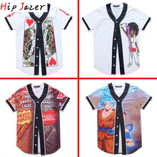 summer Hawaiian Tropical beach  playing card  jerseys 3D Print  Men graffiti-art baseball Jerseys hiphop baseball shirt  tops