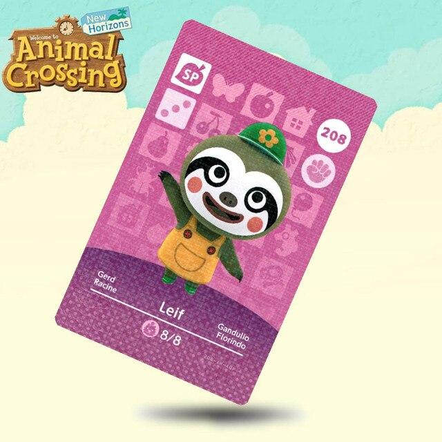 208 Leif Animal Crossing Card Amiibo karty działają dla gier Switch NS 3DS