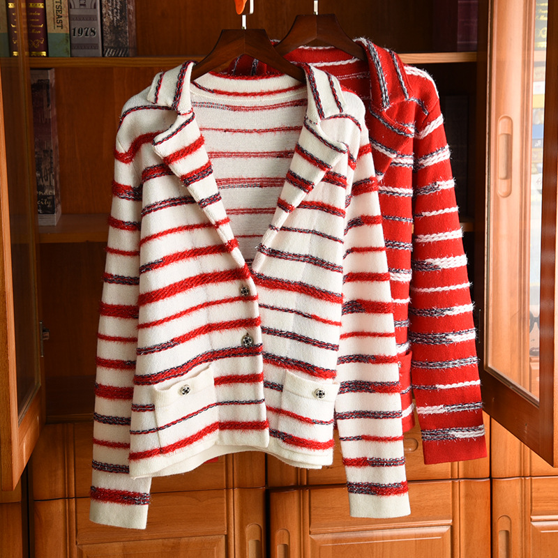 2020 Spring Women's Brand new high quality 92% Cashmere knitting coat Chic OL elegant Stripe sweater cardigans coat B726 image