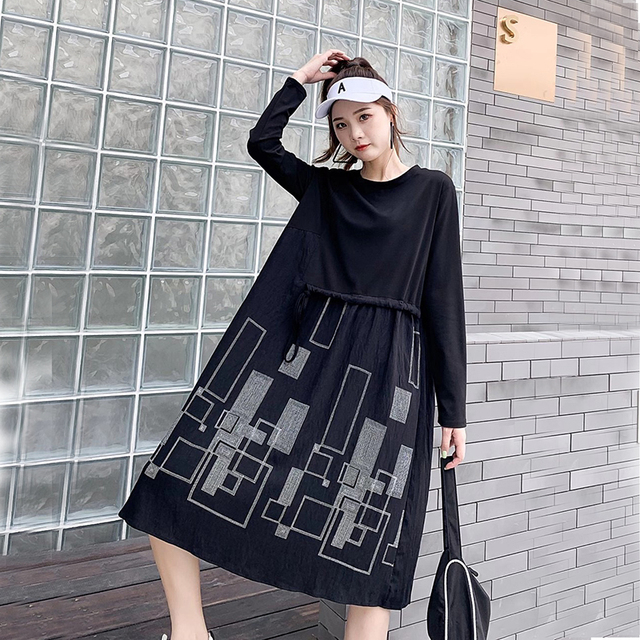 Autumn Plus Size Dress O Neck Drawstring Waist Hugging Patchwork Geometric Printing Loose Loose Dresses for women 1