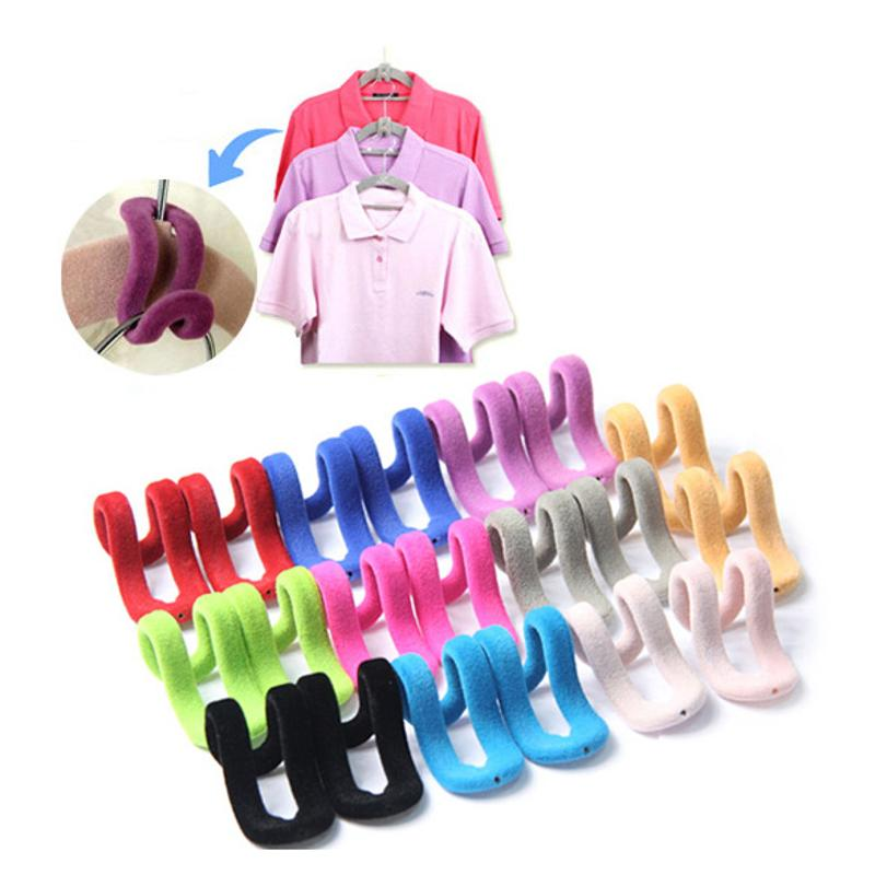 10Pcs/lot Mini Flocking Clothes Hanger Hook Accessories Save Space Wardrobe Clothes Hanging Organizer Coat Hooks Color Random