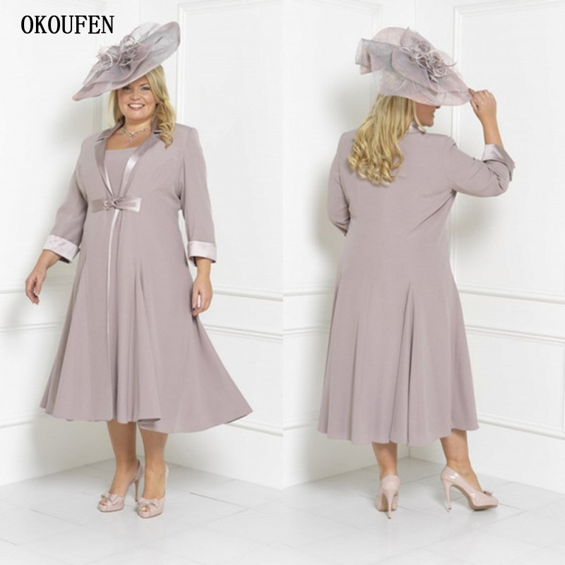 Dusty Plus Size Mother Of The Bride Dresses with Long Jacket 3/4 Sleeve Tea Length Wedding Guest Dress Custom Mothers Groom Gown