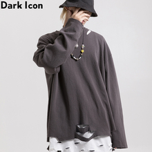 Dark Icon Solid Color Ripped Men T-shirt Long Sleeve 2019 New Fashion Street Men's Tshirts Cotton Tee Shirts 3 Colors icon sleeve page 3