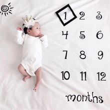 Milestone Photography Props Newborn Baby Photography Blanket Monthly Growth Blanket Background Cloth Commemorate Rug 100X100cm(China)