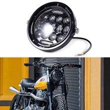 Motorcycle 7 Inch LED Headlight Retro Motorbike Headlamp for Honda Hornet 900 Cafe Racer 883 Sportster Street Glide Road King