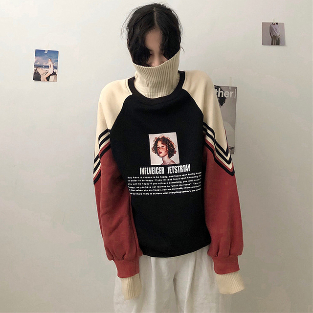 2020 Hoodie Sweatshirt Women Winter Oversize Tops Fashion Pattern Printed Sweatshirt Autumn Turtleneck Outerwear Warm Pullover 4