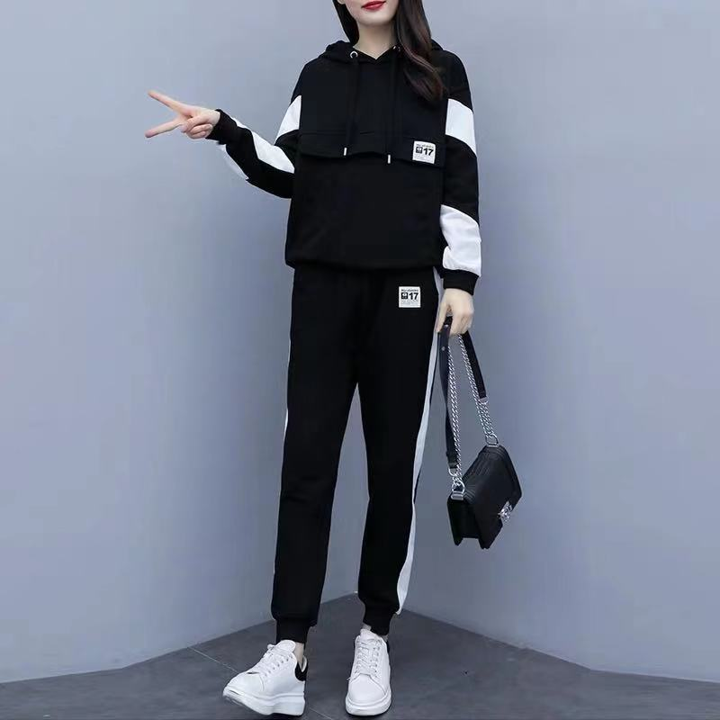 Plus Size Women's Suit Spring Autumn New Style Loose Hooded Was Thin Casual Fashion Sports Two Piece Set Women Two Piece Outfits