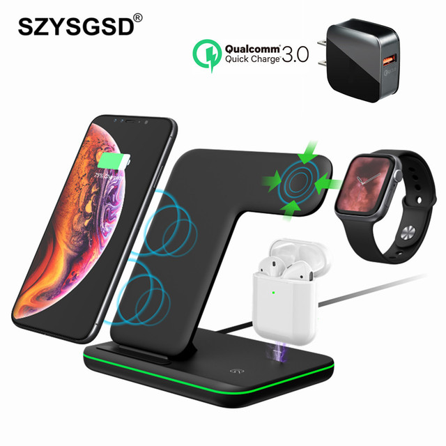 Universal 15W Qi Wireless Charger For iPhone 12 XR 8 Samsung Quick Charge Fast Charger Dock Stand For Apple Watch 5 4 3 Airpods