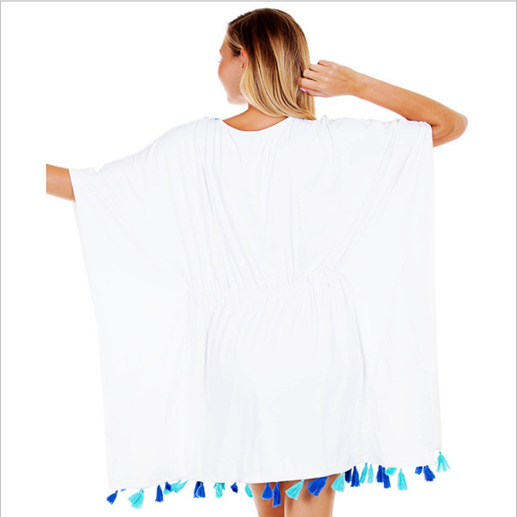 Hot Selling Europe And America Cotton Chest Embroidery Hanging Tassels Beach Skirt Bikini Outer Blouse Holiday Sun Shirt Women's