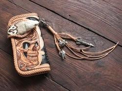 Handgemaakte heren portemonnee plantaardig gelooid leer/gesneden doek/top laag koeienhuid/hoofdhuid carving/cobra hoofd lange portefeuilles