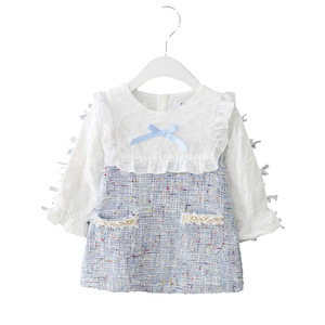 Image 5 - Girls Dress New Autumn England Style Girls Clothing Long Sleeve Plaid Children Clothes Kids Dress with Pearls 0 2Y