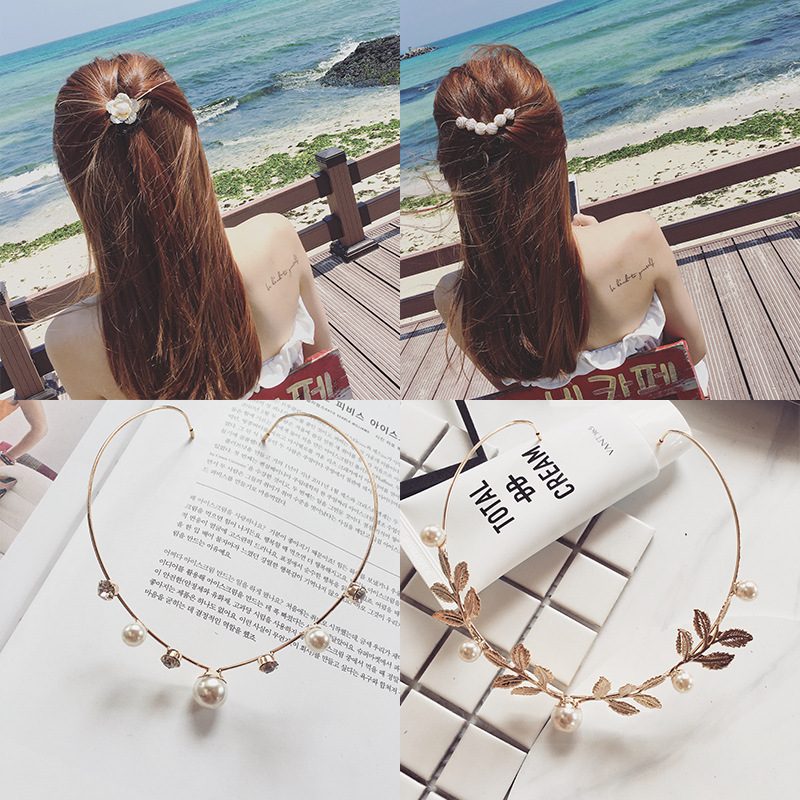 Ladies After Wearing Sweet Hair Band Sweet Pearl Flower Hair Clips Hair Accessories Young Girl Party Wedding Holiday Hairwear