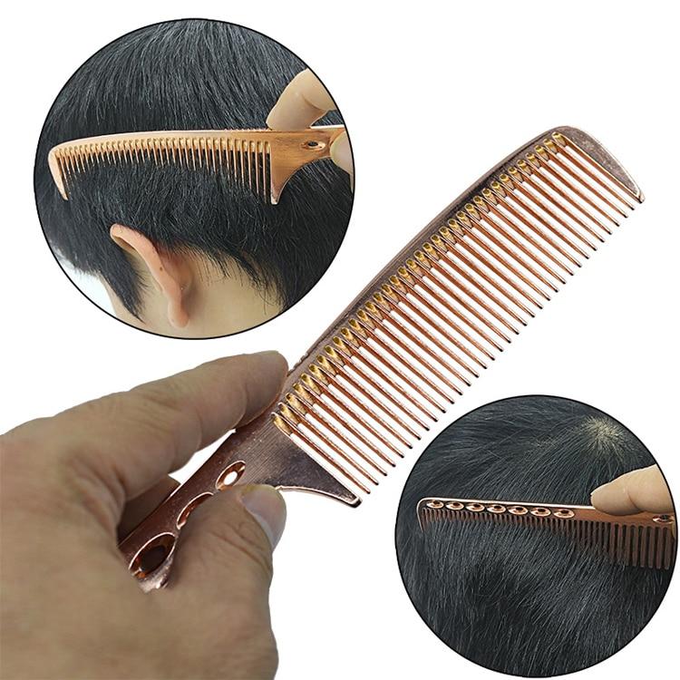 Купить с кэшбэком 1 Piece High Quality Titanium Men Haircut Comb Durable Metal Alloy 19 cm Hairdressing Men Comb Barber Styling Tools Anti Static