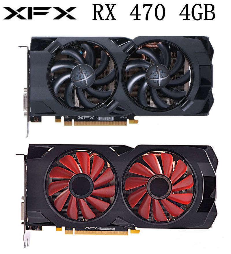 used XFX RX 470 4GB Graphics Cards AMD Radeon RX470 4GB Screen Video Cards GPU PUBG Computer Video Game Map Not Mining