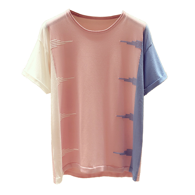 Shintimes Hit Color Tops T-Shirts Knitted Thin Pink Casual Woman Summer O-Neck Tee