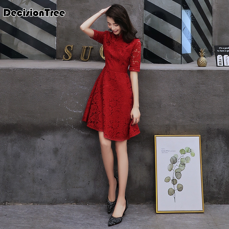 2020 Chinese Dress Women Print Flower Red Wedding Dress Oriental Bride Satin Mandarin Collar Evening Qipao Half Sleeve Cheongsam