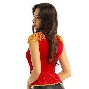 Image 5 - Frauen phantasie kleid circus kostüm top Weiche Samt Square Neck Sleeveless mit Epauletten Shirt Top Halloween Circus Kostüm Top