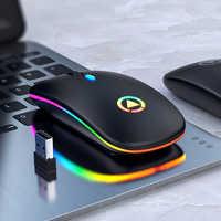 Ratón inalámbrico RGB para ordenador, Mouse silencioso, ergonómico, recargable, retroiluminado, óptico, LED, USB, para PC y portátil