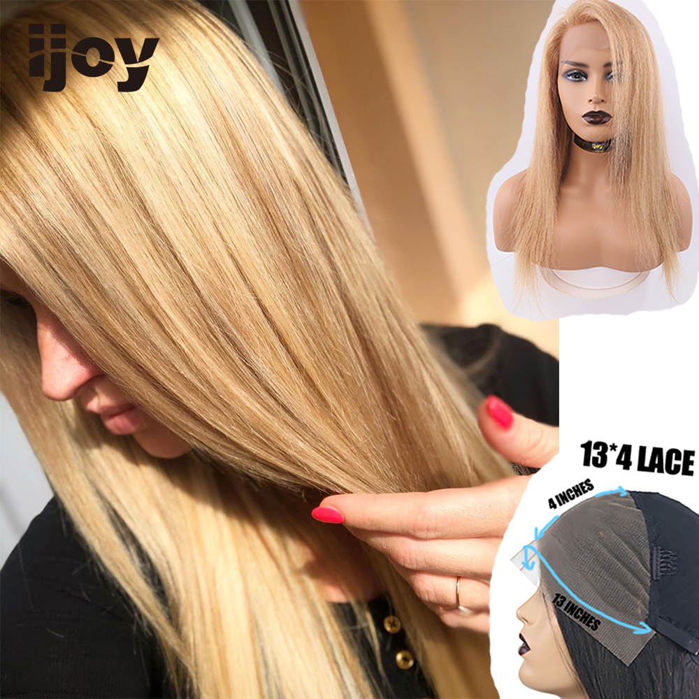 """Colored Human Hair Wigs 13×4 Lace Front Straight #27/30/33 Honey Blonde Wig 8""""-28"""" H Brazilian Human Hair Non-Remy Wigs IJOY"""