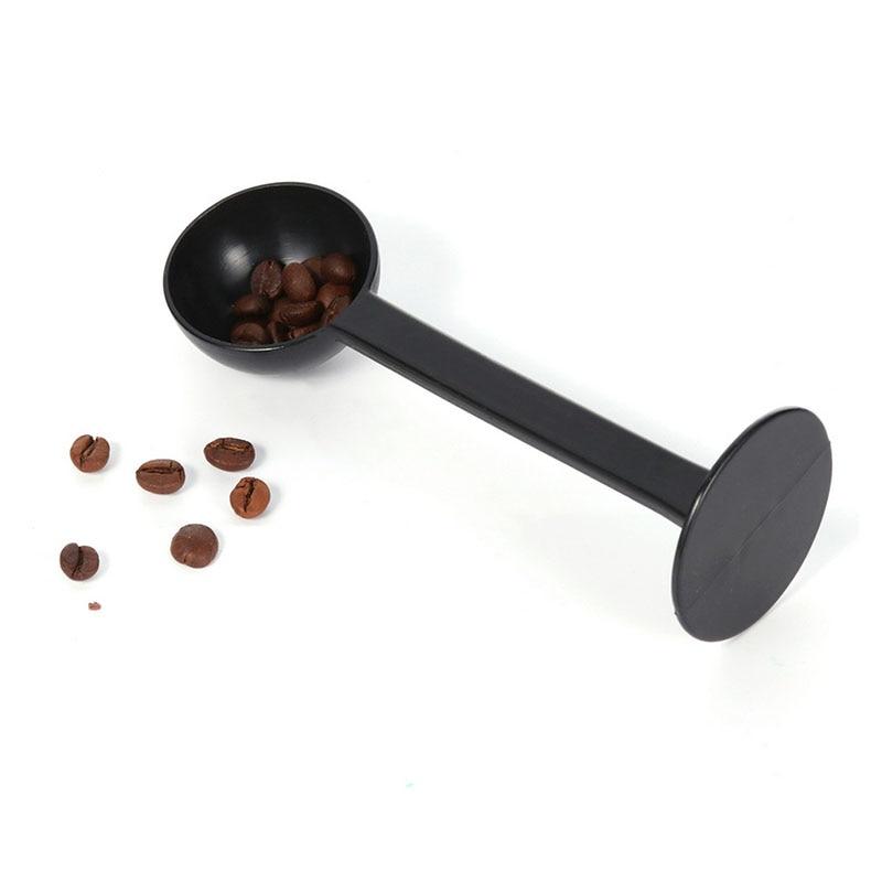 Трамбовочный Совок 2 в 1 для кофейного порошка, кофейная посуда, мерная ложка, пластиковые черные кухонные аксессуары, 1 шт.