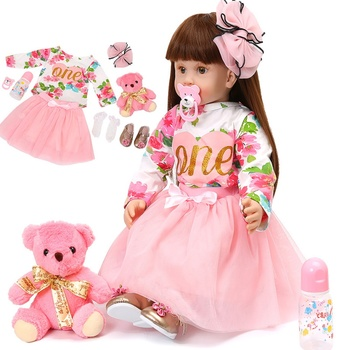 58CM High Quality Reborn Toddler Princess Girl Dolls Silicone Vinyl Adorable Lifelike Baby Dolls With Pink Cloth Long Brown Hair