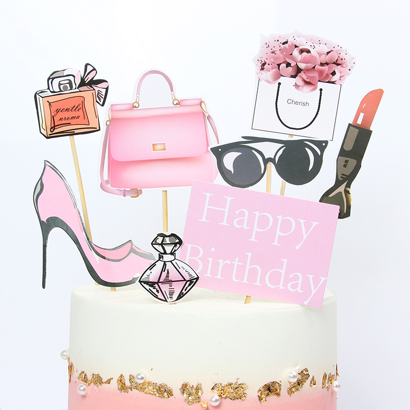 Perfume high heels Cake Toppers DIY Cupcake Topper Women Lady Cake Flags Kids Happy Birthday Wedding Bride Party Baking Decor