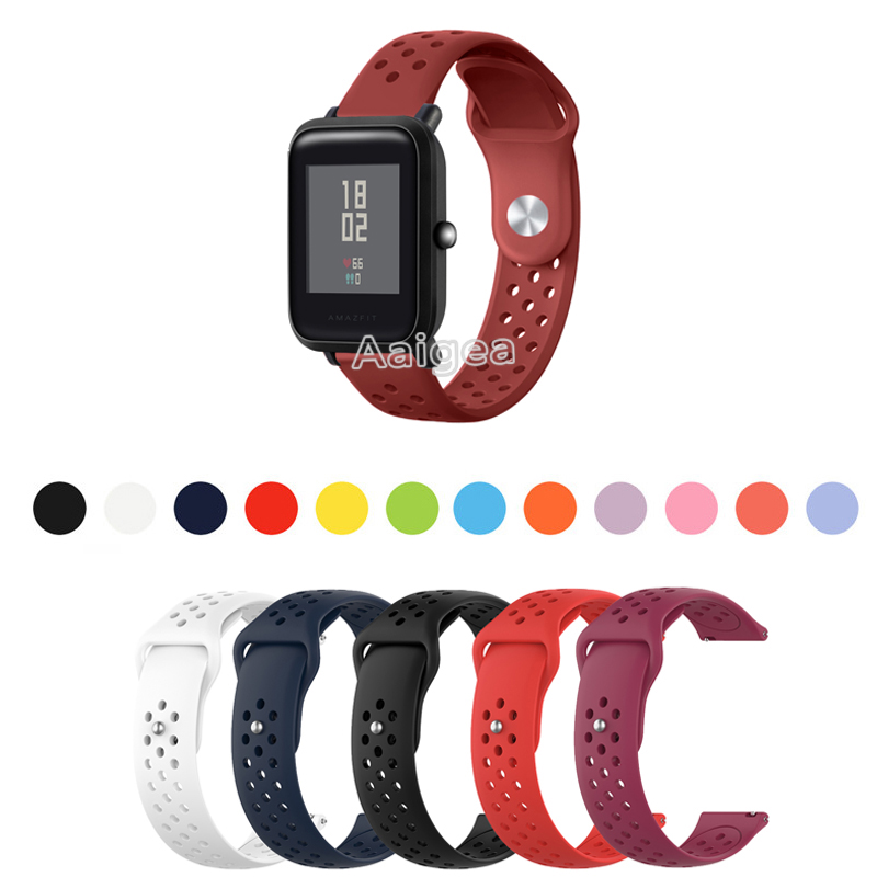 Colorful Soft Silicone Watch Band Strap For Huami Amazfit Bip Lite Smart Watch 20mm Wrist Band Strap Fashion Sports Bracelet