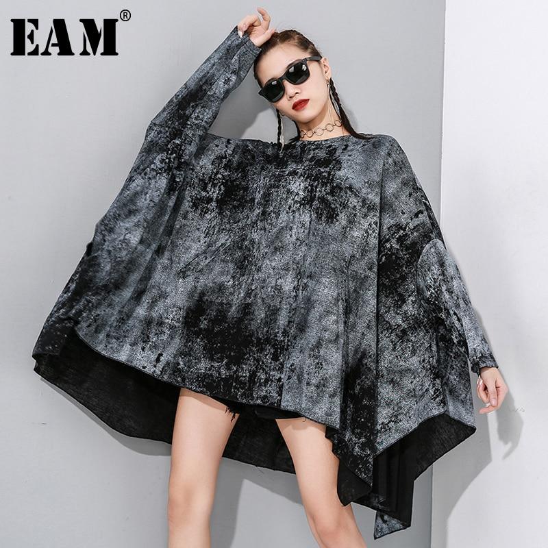 [EAM] Women Black Pattern Print Split Joint Oversized T-shirt New Round Neck Long Sleeve Fashion Tide  Spring Autumn 2020 1N888