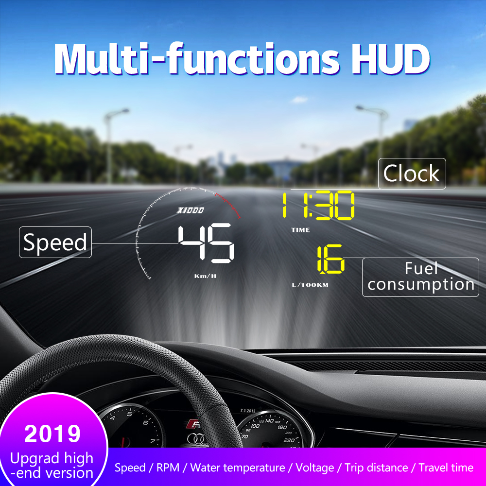 A9 With Lens Hood Windshield Projector OBD2 II EUOBD Car HUD Head Up Display Overspeed Warning System Voltage Alarm DFDF