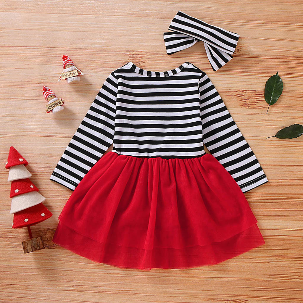 H3506df96c4a44ef7a96a712b2588566c1 Toddler Girls Christmas Dress Santa Striped Print Tulle Dress+Headband Outfits Christmas Kids Dresses For Girls Vestido Infantil