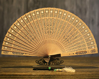 Suzhou Sandalwood Fan Arts And Crafts Folding Fan Sandalwood Fan In National Customs Hollow Out Classical Gift Fan