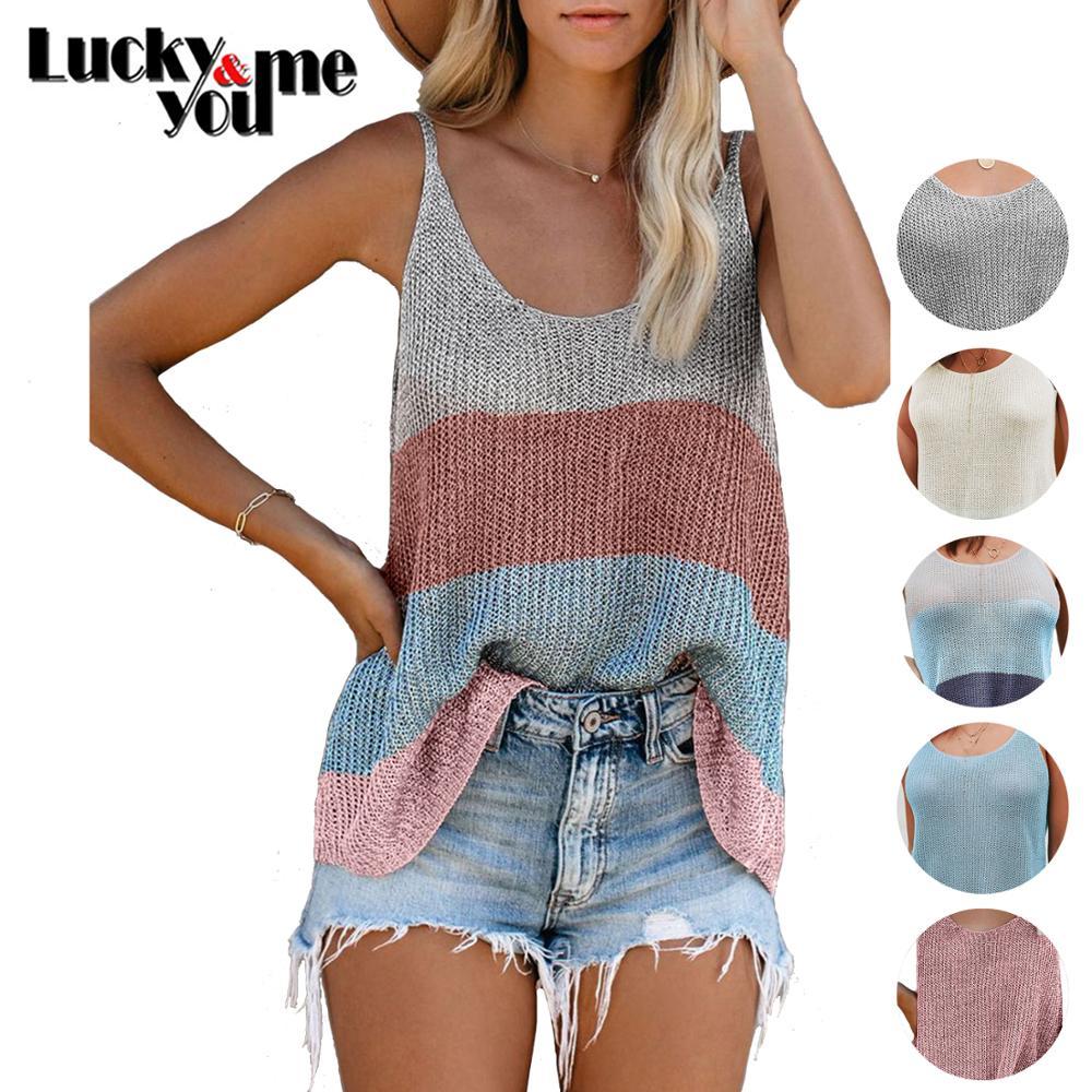 2020 New Arrive Womens Summer Sexy Fashion Casual Striped Ice Silk Crochet Loose Tank Tops Girls Street Beach Wear Camis Tops|Camis|   - AliExpress