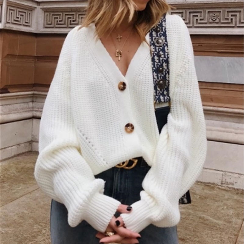 Woman V-neck Coat Long Sleeve Knit Female Sweater European Style Knit Pullover Top  Autumn Winter Sweater