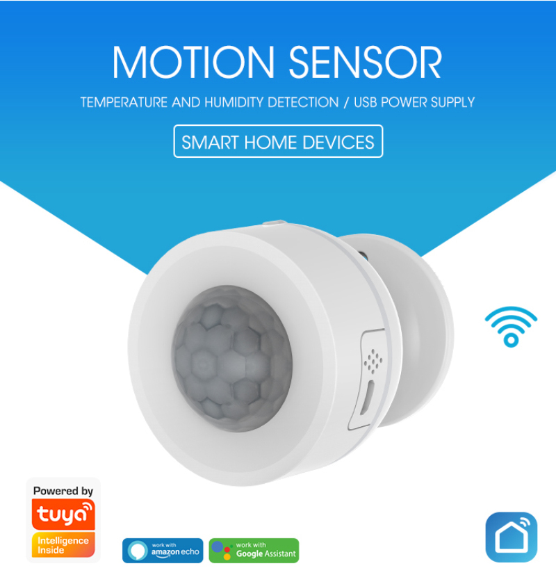 Wi-Fi ZigBee Smart PIR Motion Sensor Temperature Humidity Sensor Smart Infrared Detector APP Remote Control By Smart Life   Tuya