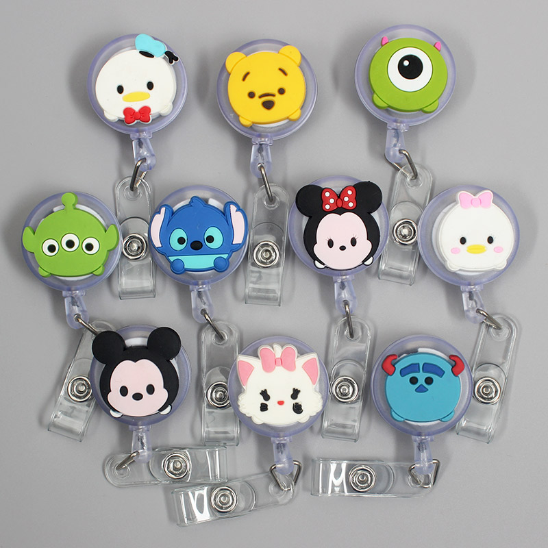 Cute Cartoon Mouse & Duck Retractable Badge Holder Reel Exhibition Enfermera Students Boys Name Cards Hospital Office Chest Card