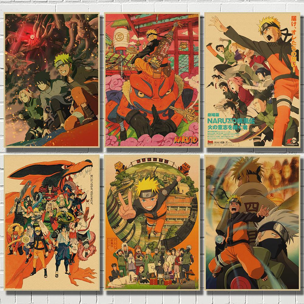 Naruto Vintage Retro Anime Poster Anime Posters Uzumaki  Poster Piece Bar Cafe Home Decor Wall Sticker