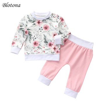Conjunto de pantalones de manga larga de otoño para niña de Blotona, Camiseta de cuello redondo con estampado Floral y pantalones de elástico largo de Color sólido 0-24M