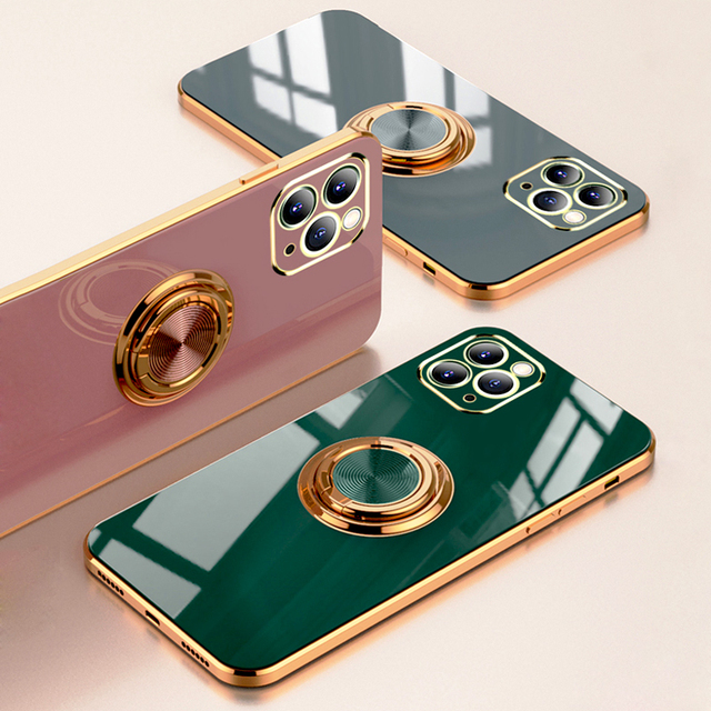 Luxury Plating Silicone Case For iPhone 12 11 Pro Max XS XR X 7 8 Plus iPhone12 iPhone11 Mini Soft Covers With Ring Holder Stand 2