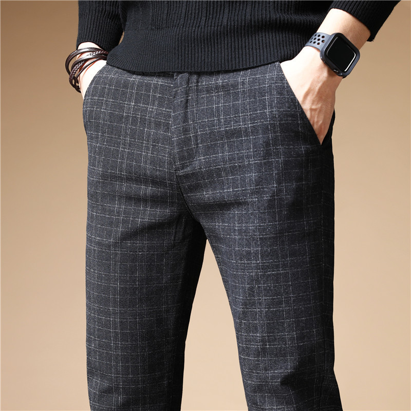 MEN'S Pants Autumn New Style 2019 Business Casual Pants Men's Korean-style Trend Versatile Autumn And Winter Brushed Plaid Pants